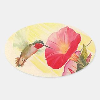 ステッカーのルビー色のThroatedハチドリの@花園 楕円形シール