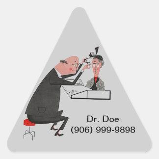 ステッカーのレトロの三角形のophthamologistの目DOCの先生 三角形シール