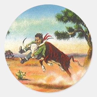 ステッカーのヴィンテージのカウボーイの雄牛の口論者のロデオのスポーツ ラウンドシール