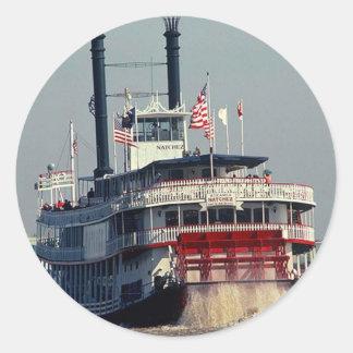 ステッカーのヴィンテージのニュー・オーリンズの蒸気船のかい川 ラウンドシール