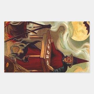 ステッカーのヴィンテージのハロウィンの魔法使いのタロットの黒猫 長方形シール