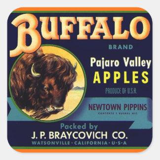 ステッカーのヴィンテージのバッファローのブランドのりんごの農産物のフルーツ スクエアシール