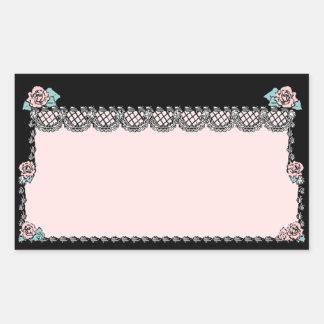 ステッカーのヴィンテージのピンクのウエディングケーキのバラのレースの黒 長方形シール