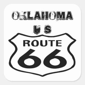 ステッカーのヴィンテージのルート66の擦り切れたな州オクラホマ米国 スクエアシール