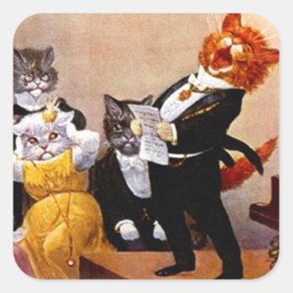 ステッカーのヴィンテージの音楽夜会の歌う猫コンサート スクエアシール