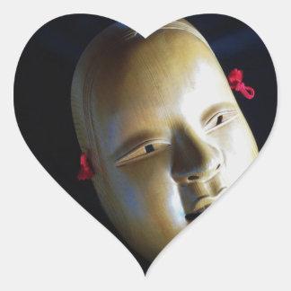 ステッカーの劇場のNohのマスクの日本人のステージの芸術のハート ハートシール