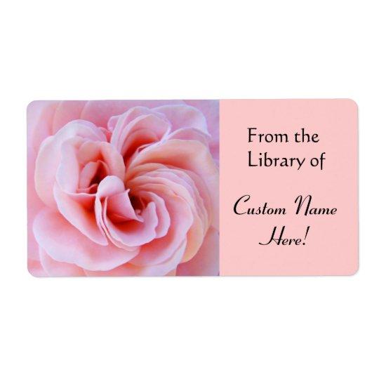 ステッカーの図書館から本はピンクのバラを分類します ラベル
