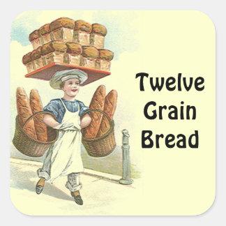 ステッカーの旧式なおもしろいのパンのパン屋のシェフは個人化なります スクエアシール