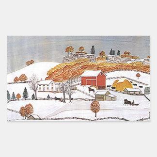 ステッカーの旧式なFolkartの田園農場の赤い納屋の冬 長方形シール