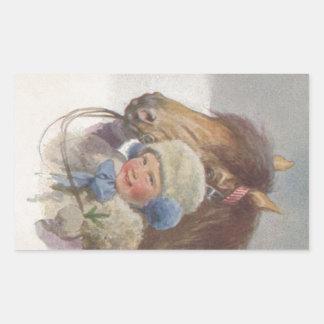 ステッカーの甘いヴィンテージのノスタルジックな子供及び子馬の芸術 長方形シール