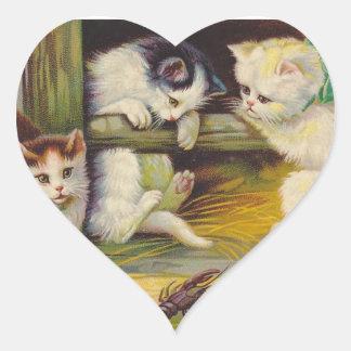 ステッカーの田園農場の好奇心が強い子ネコ猫のハート ハートシール