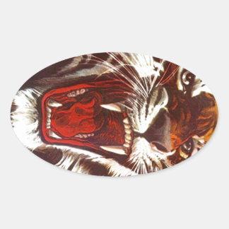 ステッカーの積極的なトラのうなり声の歯の無声スー音のマスコット 楕円形シール