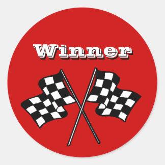 ステッカーの競争は勝者によって市松模様にされる旗の自動車車に送風します ラウンドシール
