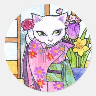 ステッカーの芸者アンハワード著アジア猫のファンタジー ラウンドシール