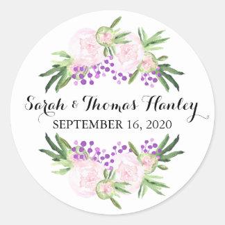 ステッカーを結婚するピンクのシャクヤクIの花柄 ラウンドシール