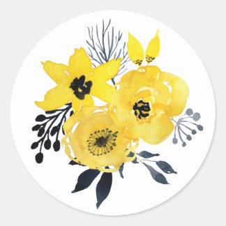 ステッカーを結婚する明るく黄色い花 丸型シール