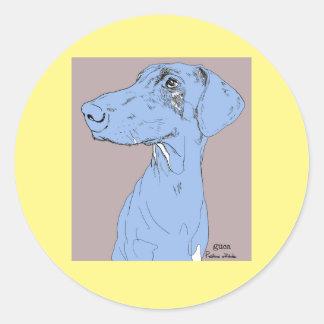 ステッカー犬のスケッチのドーベルマン犬色Backgroud ラウンドシール