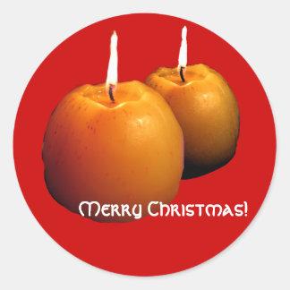 ステッカー2本の円形の蝋燭のクリスマスの ラウンドシール