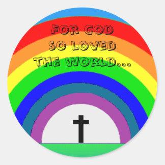 ステッカー: そう世界愛される神のため… ラウンドシール