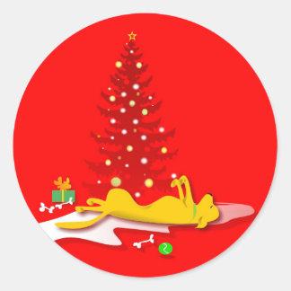 ステッカー-イエロー・ラブラドール・レトリーバー犬のクリスマス-赤 ラウンドシール