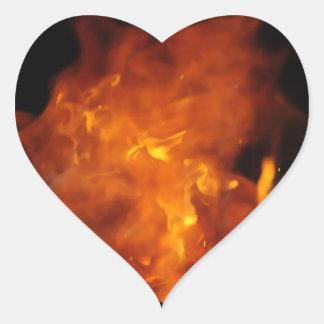 ステッカー-火のハート ハートシール