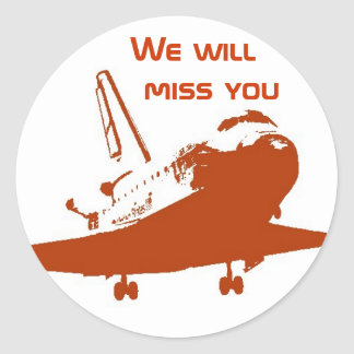 ステッカー-私達はスペースシャトル4を恋しく思います ラウンドシール
