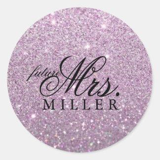 ステッカー-紫色のグリッターのハートのすてきな未来の夫人 ラウンドシール