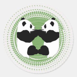 ステッカー(緑の背景を持つパンダ) ラウンドシール