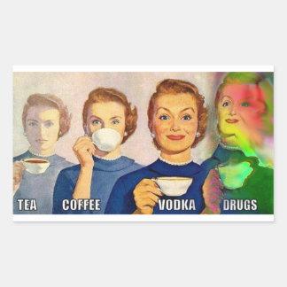 ステッカー、茶、コーヒー、ウォッカ、薬剤 長方形シール