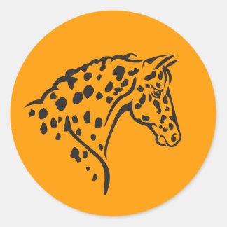 ステッカー--Appaloosaの黄色 ラウンドシール
