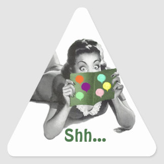 ステッカーShh… レトロのFun女性びっくりパーティのシール 三角形シール