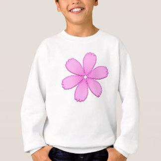 ステッチが付いているピンクの花 スウェットシャツ