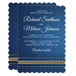 ステッチされたデニムのジッパーのジーンズの結婚式招待状 カード
