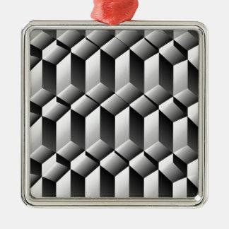 ステップの目の錯覚 シルバーカラー正方形オーナメント