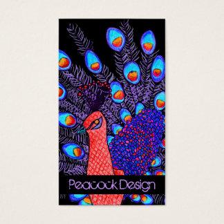 ステラのプレッピーでシックな孔雀の手描きのデザイン 名刺