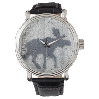 ステンシル落書きのアメリカヘラジカ 腕時計