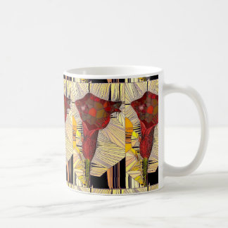 ステンドグラスのオランダカイウユリのマグ コーヒーマグカップ