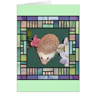 ステンドグラスのスタイルフレームのハリネズミ カード