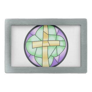 ステンドグラスの十字 長方形ベルトバックル