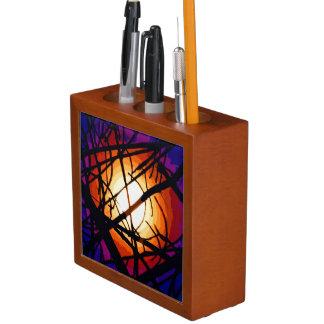 ステンドグラスの月の抽象芸術のペン立て ペンスタンド