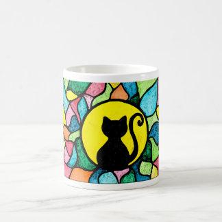 ステンドグラスの水彩画の子猫のマグ コーヒーマグカップ