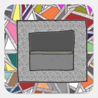 ステンドグラスの灰色箱 スクエアシール