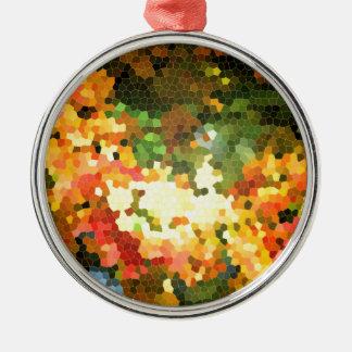 ステンドグラスの秋のかえではオレンジ黄色を去ります メタルオーナメント