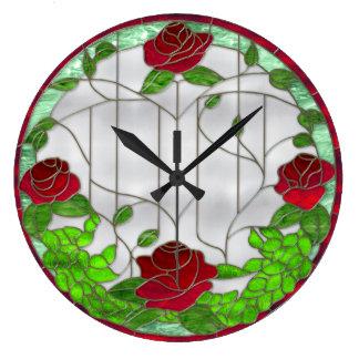 ステンドグラスの赤いバラ ラージ壁時計