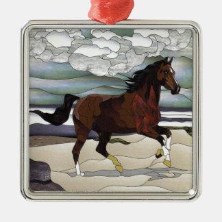 ステンドグラスの馬 メタルオーナメント