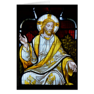 ステンドグラスのColan教会コーンウォールイギリスのブランク カード