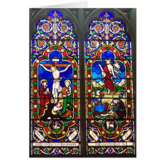 ステンドグラス教会窓のコーンウォールの写真カード カード