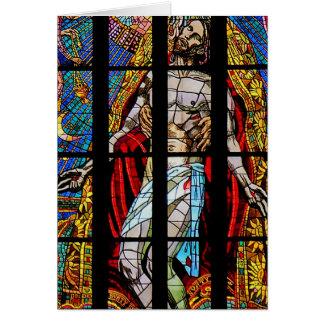 ステンドグラス窓、St Vitus、プラハ(b) カード