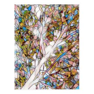 ステンドグラスPhotomanipulatioかわいらしい生命の樹 ポストカード