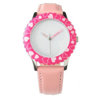 ステンレス鋼のピンクのハートの腕時計、調節可能な斜面 腕時計